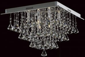 Impex Parma Small Flush Square Crystal 6 Light Fitting In Chrome