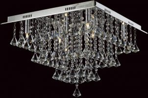 Impex Parma Medium Flush Square Crystal 8 Light Fitting In Chrome
