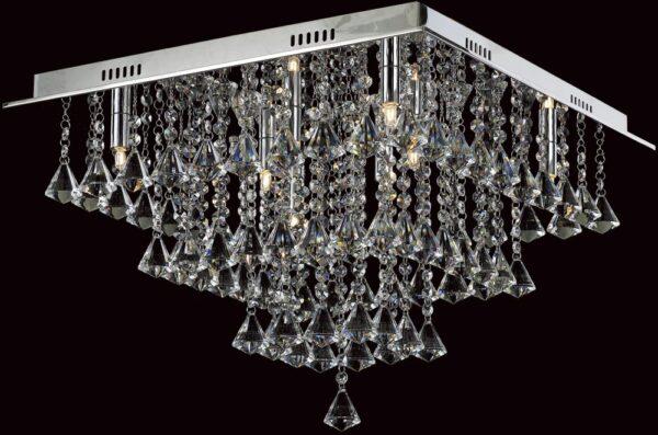 Impex Parma Medium Flush Square Crystal 8 Light Fitting In Chrome