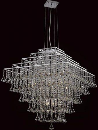Impex Parma Medium Square Chrome 10 Light Crystal Pendant Chandelier