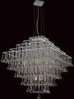 Impex Parma Large Square Chrome 12 Light Crystal Pendant Chandelier