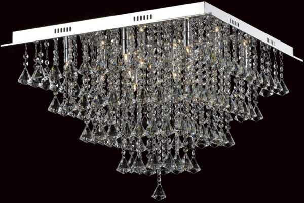 Impex Parma Large Flush Square Crystal 12 Light Fitting In Chrome