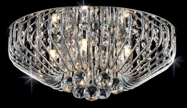 Carlo 5 Light Crystal Basket Flush Fitting In Polished Chrome