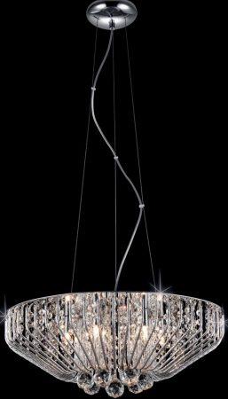 Carlo 6 Light Crystal Basket Pendant In Polished Chrome