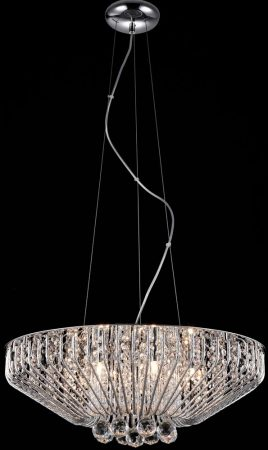 Carlo 7 Light Crystal Basket Pendant In Polished Chrome