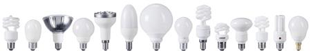 Range of different compact fluorescent light bulbs