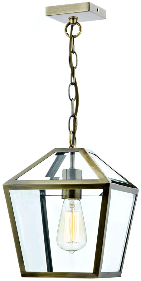 Dar Churchill Traditional 1 Light Hanging Lantern Brass