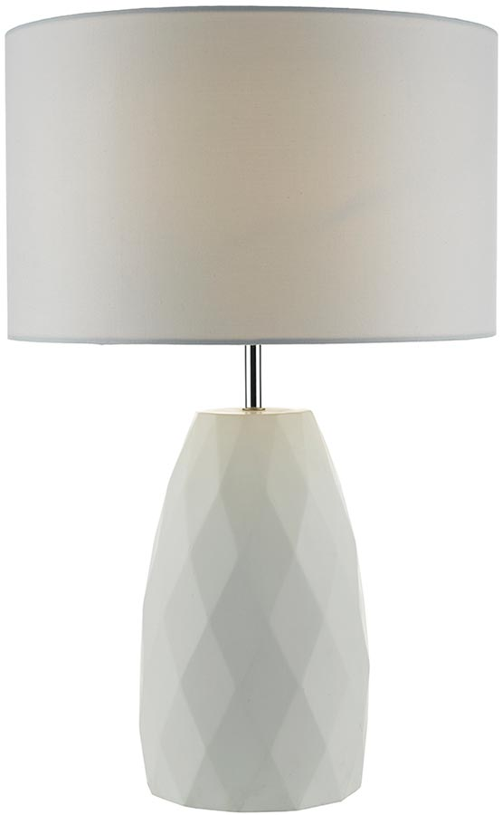 Dar Ciara White Plaster Table Lamp With White Shade