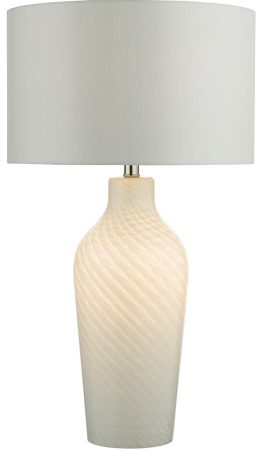 Dar Cibana Dual Light White Glass Table Lamp With White Shade
