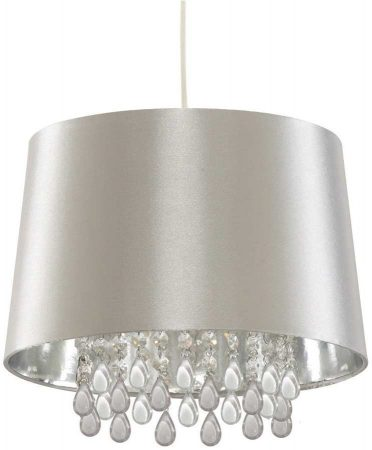 Modern White Faux Silk Ceiling Pendant With Acrylic Peardrops