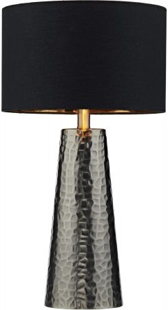 Dar Clyde Black Table Lamp With Black Cotton Shade