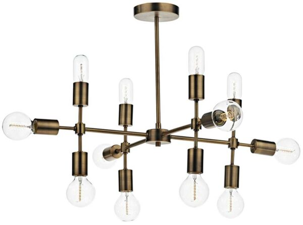 Dar Code Modern 12 Light Semi Flush Fitting Old Gold