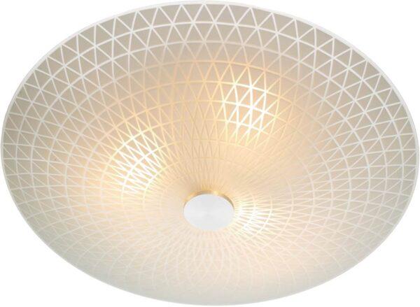 Dar Colby Flush Patterned Opal Glass 3 Light Ceiling Fitting
