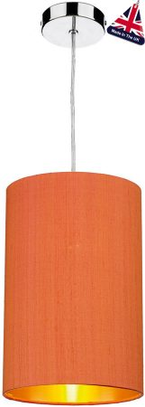 David Hunt Cylinder Silk 20cm Gold Lined Shade Various Colours