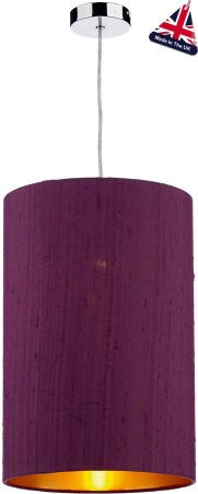 David Hunt Cylinder Silk 30cm Gold Lined Shade Various Colours