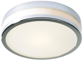 Dar Cyro Large Flush Bathroom Ceiling Light Polished Chrome