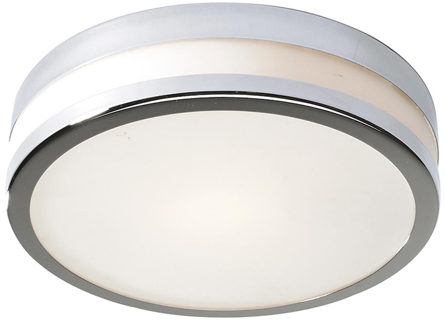 Dar Cyro Small Flush Bathroom Ceiling Light Polished Chrome