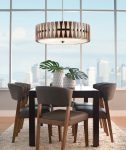 Kichler Cirus 5 Light Pendant / Semi Flush Wood White Fabric Shade