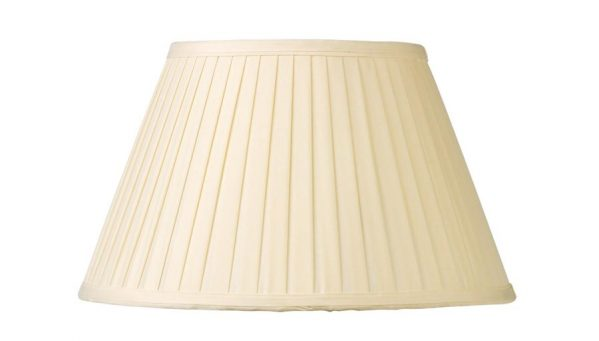 Cream Knife Pleated Faux Silk 25cm Tapered Table Lamp Shade