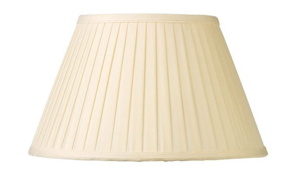 Cream Knife Pleated Faux Silk 30cm Tapered Table Lamp Shade