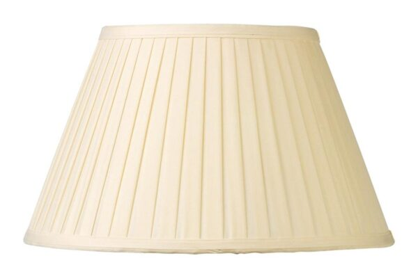 Cream Knife Pleated Faux Silk 35cm Tapered Table Lamp Shade