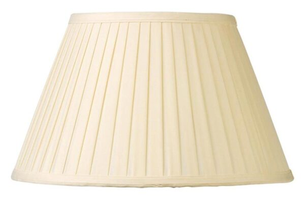 Cream Knife Pleated Faux Silk 45cm Tapered Table / Floor Lamp Shade