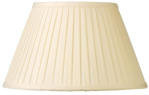 Cream Knife Pleated Faux Silk 50cm Tapered Floor Lamp Shade