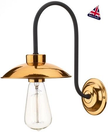 David Hunt Dallas Retro Polished Copper Wall Light UK Made
