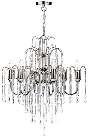 Dar Daniella Dual Mount 6 Light Crystal Chandelier Polished Nickel