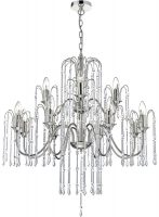 Dar Daniella 12 Light Crystal Chandelier Polished Nickel