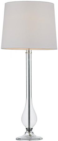 Dar Dillon Clear Glass Tall Table Lamp With White Shade