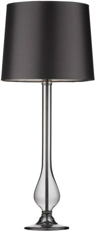 Dar Dillon Smoked Glass Tall Table Lamp With Black Shade