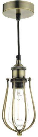 Dar Taurus Industrial 1 Light Cage Pendant Antique Brass