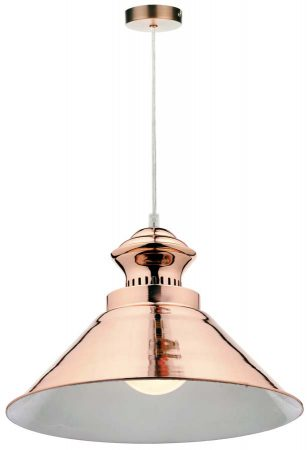 Dar Dauphine Modern 1 Lamp Polished Copper Pendant Light