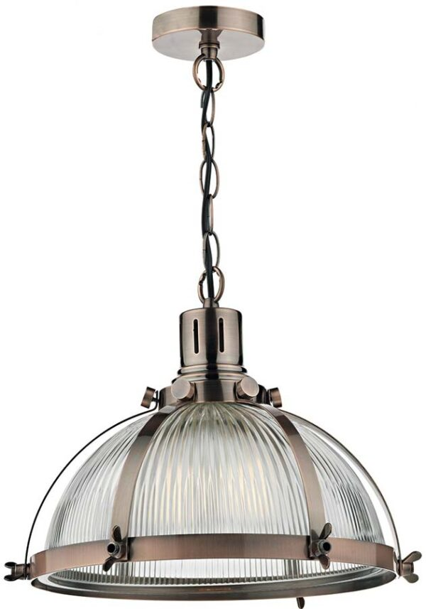 Dar Debut Copper Industrial Style Ribbed Glass Pendant Light
