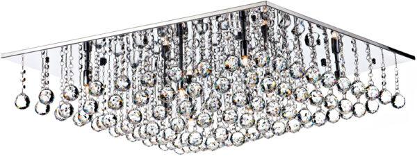 Dar Abacus Large Square 8 Lamp Flush Crystal Light Chrome