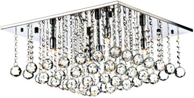 Dar Abacus Square 5 Light Flush Crystal Ceiling Fitting Chrome