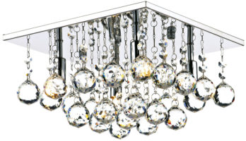 Dar Abacus Square 4 Light Flush Crystal Ceiling Fitting Chrome