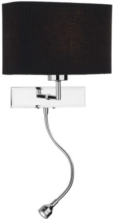 Dar Amalfi Black Shade Wall Light LED Reading Lamp Chrome