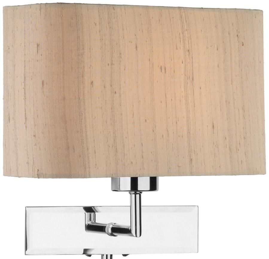 Silk Lamp Shades For Wall Lights : Dar Amalfi Taupe Silk Shade Wall Light LED Reading Lamp Chrome AMA0750-ZOF0701