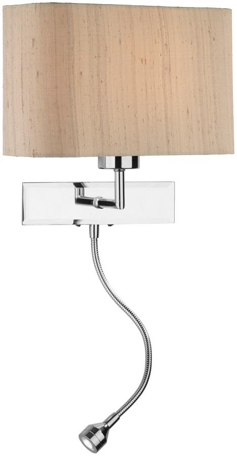 Dar Amalfi Chrome Wall Light LED Reading Lamp Taupe Silk Shade
