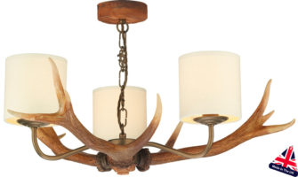 David Hunt Antler 3 Light Highland Rustic Chandelier Drum Shades