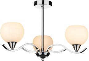 Dar Aruba Modern 3 Lamp Semi Flush Light Chrome