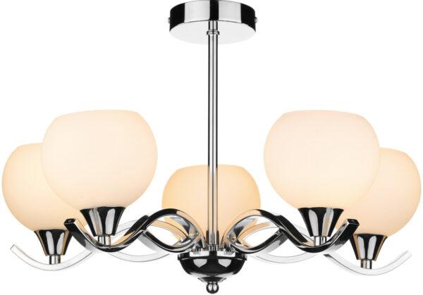 Dar Aruba Modern 5 Lamp Semi Flush Light Chrome