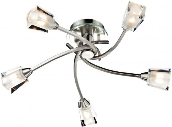 Dar Austin 5 Lamp Swirl Semi Flush Light Satin Chrome