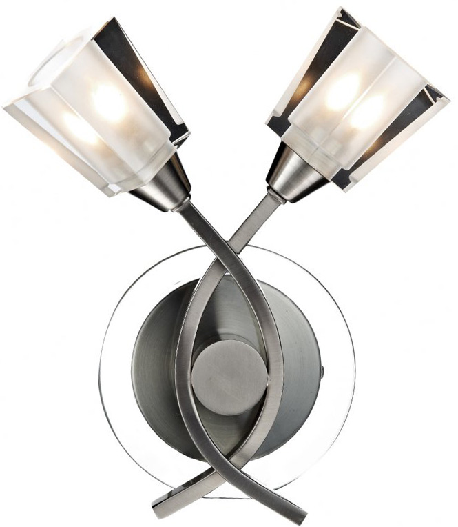 Wall Lights Satin Chrome : Dar Austin Switched 2 Lamp Wall Light Satin Chrome AUS0946