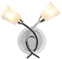 Dar Austin Switched 2 Lamp Wall Light Chrome