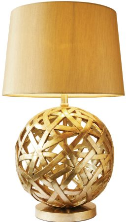Dar Balthazar Antique Gold Globe Table Lamp And Shade