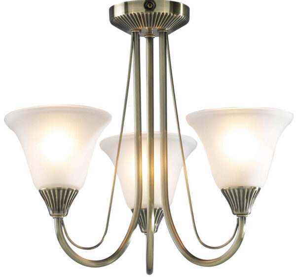 Dar Boston 3 Light Semi Flush Fitting Antique Brass