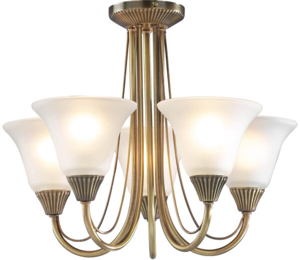 Dar Boston 5 Light Semi Flush Fitting Antique Brass